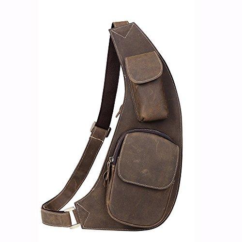 5 ALL Schulter-Tasche Rucksack aus Echtleder Vintage Unisex Brusttasche Umhängetasche für Sport Outdoor Radfahren Wandern (Braun B) Braun A