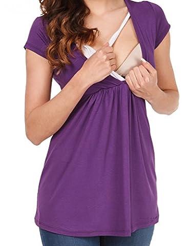 Zeta Ville - Damen Still T-Shirt Wickeldesign Top für Schwangere Gr S-3XL - 373c (Lila, EU 42, XL)