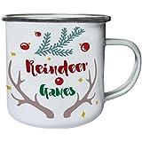 Navidad Renos Juegos Retro, lata, taza del esmalte 10oz/280ml n768e