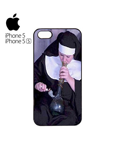 Weed Nun Smoking Nuns Marihuana Funny Cigarette Mobile Phone Case Cover iPhone 6 Plus + White Noir