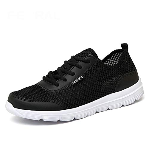 HOTSTREE 2019 New Unisex Shoes Comfortable Breathable Light Shoes Men & Woman Sneakers Plus Big Size 35~48 Black 9.5
