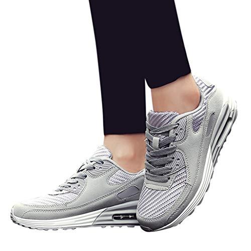 Saihui Damen Schnürschuhe Bequem Turnschuhe Mesh Air Laufschuhe Fitnessschuhe Atmungsaktiv Running Bequem Sneakers Straßenlaufschuhe (EU:36, Grau)