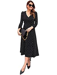OM FAB Floral Printed Knee Length Dress for Women Black