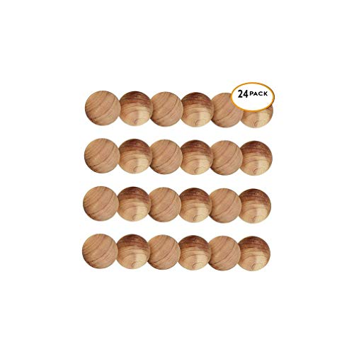 Lvcky 24 Pièces de Bois de Cèdre Boules antimites Anti-Mites pour Tue-Mites - 100% Bio Boules antimites Naturel, Humide, Empêche Les Moule Mustiness