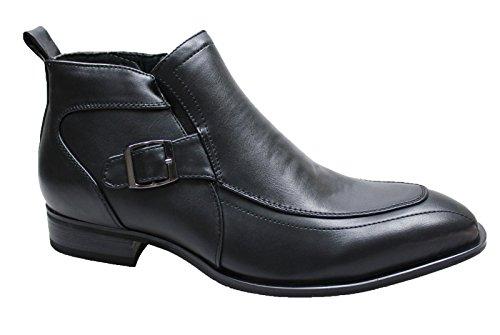 Stivali uomo nero casual ecopelle invernali scarpe stivaletti moto sneakers (45)