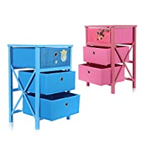 Makika Chest of drawers for Children foldable DIY Storage Cabinet Furniture 3 Drawer Modern Design Multiple-Purpose Bedroom Kids Room Kitchen MDF PVC Cardboard - in different colors