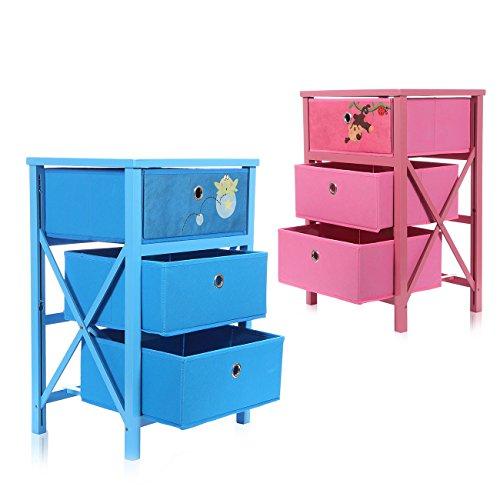 Makika Kommode Schubladenkommode für Kinder Faltbar 3 Schubladen Sideboard Regal Anrichte Schubladenschrank in Blau