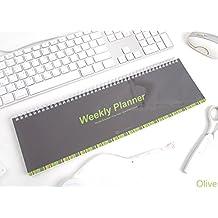 Escritorio Largo espiral semanal Planner-Calendario planificador semanal Pad, color verde oliva