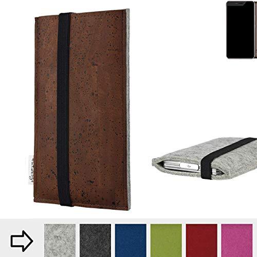 flat.design Handy Hülle Sintra für Allview X4 Xtreme maßgefertigte Handytasche Filz Tasche Schutz Case braun Kork