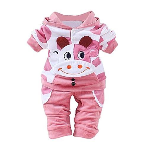 Bonjouree Ensembles Pantalons et Haut de Bébé Manteau à Capuche en Velours Chaudes Pour Bebe Fille et Garçons 0-24 Mois (18-24 Mois, Rose)
