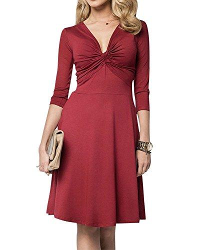 Moollyfox Femme Robe Noeud avant Robe de Soirée Beaucoup de Couleurs Vin Rouge