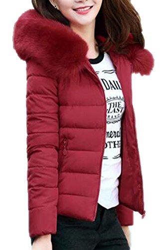 Brinny Femme Hiver Chaud Doudoune Col Fourrure Grande Taille Épais Manteau Parka Blouson à Capuche Zip, Vin Rouge - 4XL