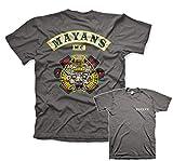 Mayans M.C. Officiellement sous Licence Backpatch T-Shirt pour Hommes (Gris Foncé), X-Large
