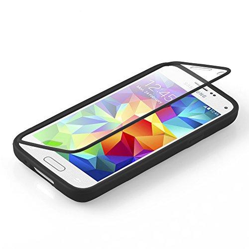 Cadorabo - TPU Silikon Schutz-Hülle (Full Body Rund-um-Schutz auch für das Display) für >            Samsung Galaxy S5 MINI / S5 MINI DUOS            < in OXID-SCHWARZ OXID-SCHWARZ