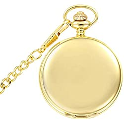 Jelercy Gold Tone Smooth and Simple Surface Abric Numberal Quartz Movement Pocket Watch