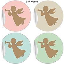 24 pegatinas de ángel retro para Navidad con trompetas de ángeles en diferentes colores pastel,