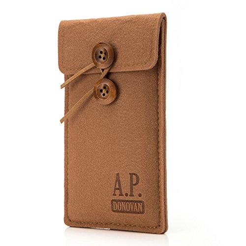 A.P. Donovan - Filz-Tasche Filzhülle - Schutzhülle - Handy-Socke aus Filz - Hülle Tasche aus Stoff Sleeve - Handy-Tasche - Braun, iPhone 5 / 5s