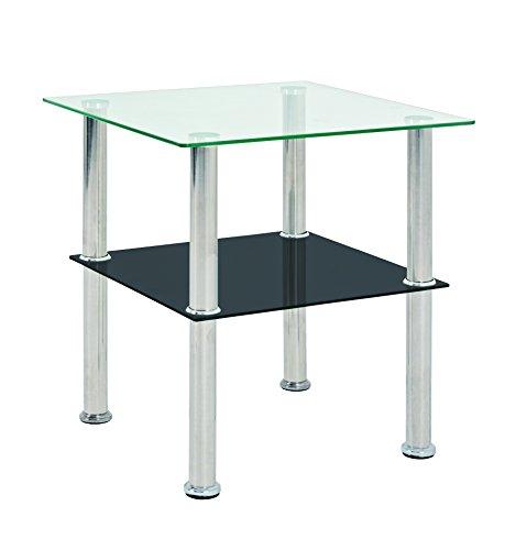 Haku Moebel 33210 Table d'appoint INOX/Verre trempé INOX/Noir 40 x 40 x 42 cm