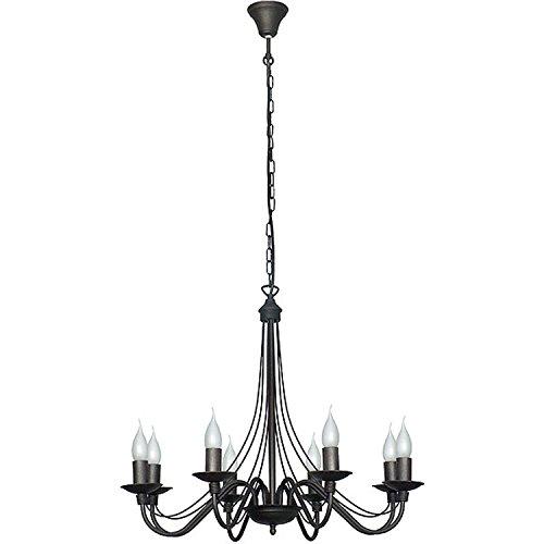 Acht Arm Kronleuchter (Schwarzer Kronleuchter Rustikal aus Metall 8 opulent geschwungene Arme Beleuchtung Wohnzimmer Esstisch)