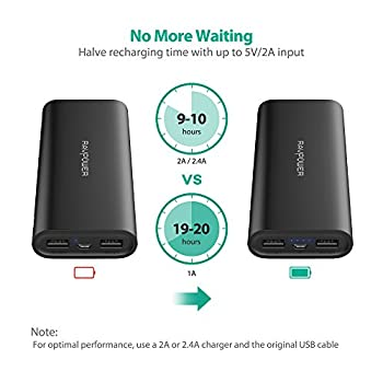 Ravpower Portable Charger 16750mah Upgraded Power Bank 4.5a Dual Usb Output Ultra External Battery Pack For For Iphone, Samsung Galaxy, Tablets & More – Black 3