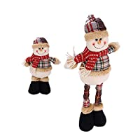 LONTG Christmas Figure Decoration Snowman Standing Figure Ornament with Retractable Legs Plush Snowman Doll Toy Gift Table Fireplace House Christmas Decoration Ornaments 38-51CM