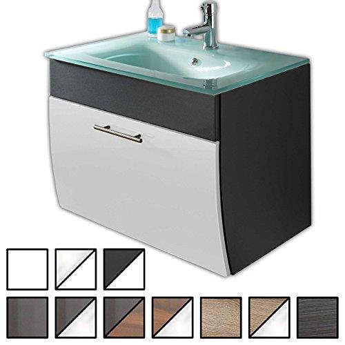 Waschtisch Set Tossens Anthrazit-Weiß (Waschbecken mit Waschbeckenunterschrank) Breite 70 cm, für Gäste-WC, Form recht-eckig, hängend, unten abgerundet, 1 Schublade breit, hochglanz