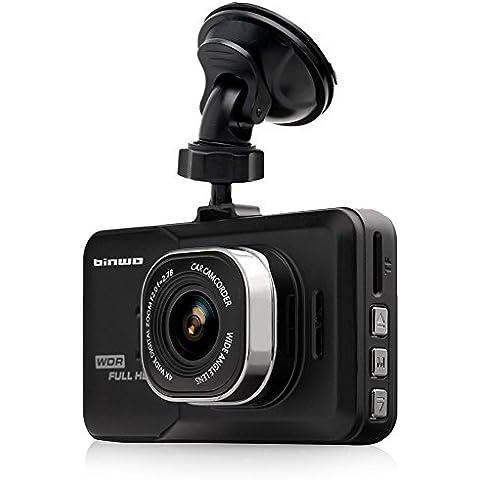binwo Premium Dash Cam Full HD 1080p coche DVR Grabador de datos Vehículo de visión nocturna WDR Cámara Blackbox con visión de gran angular de 170grados, detección de movimiento/g-sensor, 3.0, con tarjeta Micro SD de 16GB