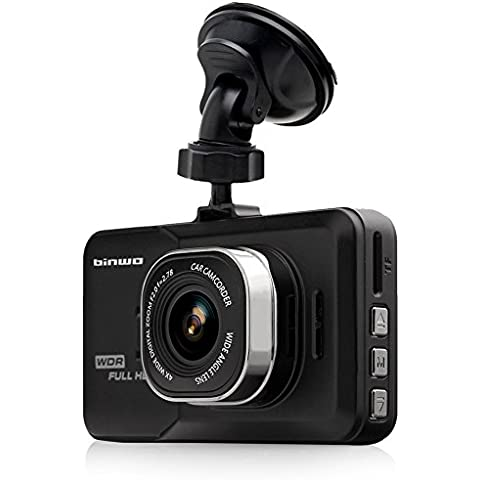 binwo Premium Dash Cam Full HD 1080p coche DVR Grabador de datos Vehículo de visión nocturna WDR Cámara Blackbox con visión de gran angular de 170grados, detección de movimiento/g-sensor, 3.0, con tarjeta Micro SD de