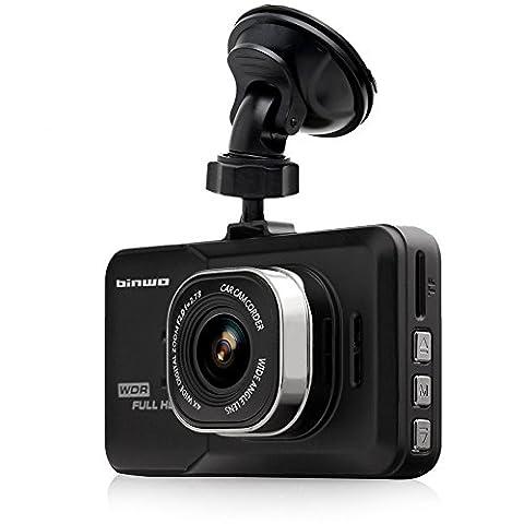 Binwo Dashboard Enregistreur de caméra, FHD 1080P Car Dash Cam, 170 Grand angle noir Enregistreur vidéo caméra DVR avec G-capteur, enregistrement en boucle, détection de
