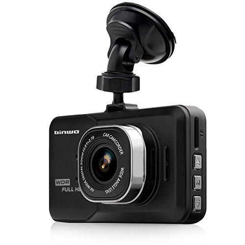 Binwo Premium Fotocamera Full HD 1080P Car DVR registratore dati WDR Night Vision Veicolo Dash Cam Blackbox con 170gradi ampio angolo di visione, Motion Detection/G-Sensor, 3.0inch con scheda micro sd da 16GB