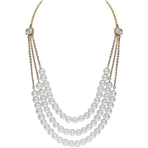 Sempre Londra 18K Placcato Oro 3Strand perla catena espranza Designer collana per ragazza e donna - Gold 3 Strand