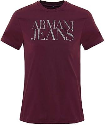 Armani Jeans Men's Crew Neck Logo T-Shirt Bordeaux