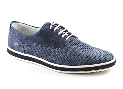 IGI&CO 76873 blu scarpe uomo sportive eleganti lacci fori camoscio Blu
