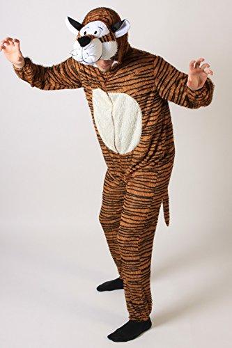 Tiger Kostüm Herren - Foxxeo Tiger Kostüm für Erwachsene Damen und Herren Tierkostüm Overall Jumpsuit Größe XL