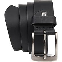 LINDENMANN Jeansgürtel XXL Vollbüffel 4mm Echt Leder-Gürtel Herren / Vollleder-Gürtel Herren, schwarz oder braun