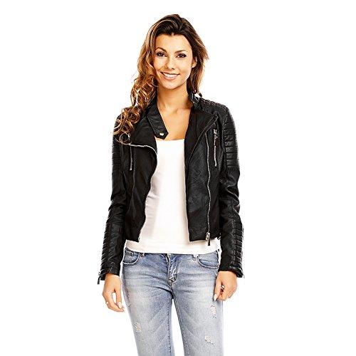 Mayaadi Trendige Kunst-Lederjacke Damen Biker-Jacke in schöner Leder-Optik 3B069 Schwarz L