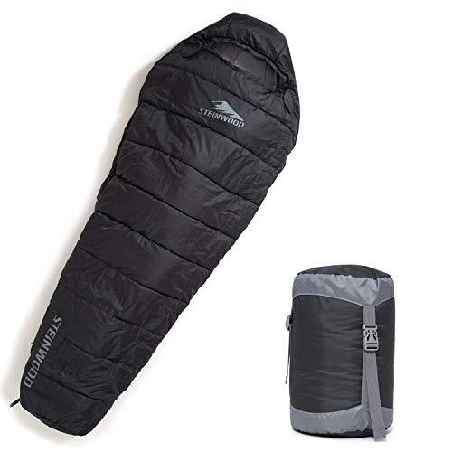 Steinwood Premium Schlafsack koppelbar Kompakt 4-Season 210cm - Outdoor-Schlafsack, Mumien-Schlafsack, Hütten-Schlafsack