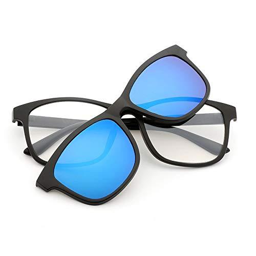 Magnetclips Nachtsichtbrillen Polarisierte Sonnenbrillen Spiegelgläser Magnet Sonnenbrillen Brille (Color : Blau, Size : Kostenlos)