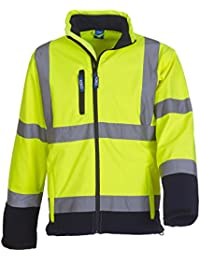 Yoko Hi-Vis Softshell Jacket Colour=Hi-Vis Yellow/Navy Size=M