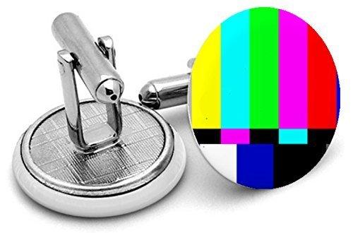 TV Test Karte Typ 2Manschettenknöpfe mit Samtbeutel