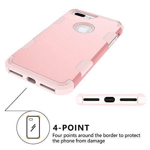 iPhone 8 Plus Coque DWaybox Contrast Color Design 3 in 1 Combo Hybrid Heavy Duty Armor Phone Hard Back Housse Coque pour Apple iPhone 8 Plus 5.5 Inch (Rose Gold + Gray) All Rose Gold