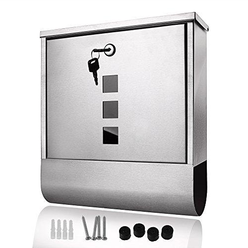 mymotto Briefkasten Edelstahl mit Zeitungsbox Mailbox A4 Einwurf-Format 2 x Schlüssel Zubehör-Set