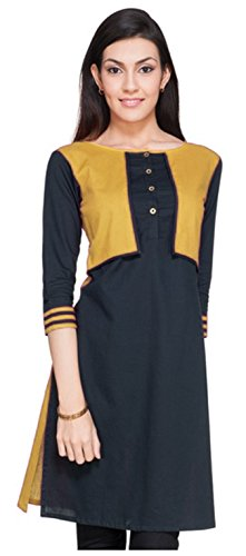 Varibha Girl's Branded Stitched Solid Yellow Cotton Silk Low Price Kurti (Best Gift For Your Friend, Girlfriend, Wife, Sister, Casual, Free Size alterable till 42)  available at amazon for Rs.147