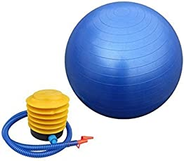 MOHAK Inflatable Gym Ball with Foot Pump for Total Body Fitness, Abdominal Toner - Diameter 65Cm