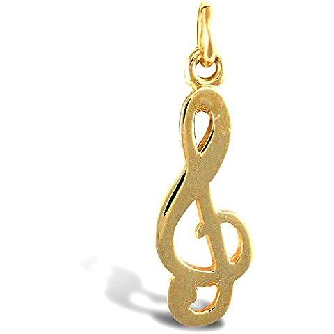 Jewelco Londres 9K sólido oro agudos clef g pendiente del encanto música