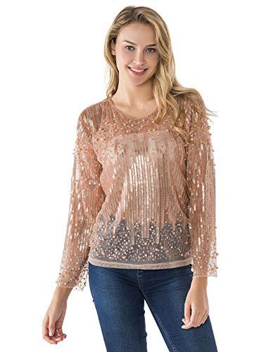 PrettyGuide Damen Pailletten Bluse Transparent Party Tops Perlen Sparkly Shirts XL Rosé Gold