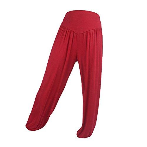 YWLINK Damen Kleidung,Elastische Frauen Lose Einfarbig BeiläUfig Modal Baumwolle Weich Laterne Yogahosen Sport Tanzen Harem Hose