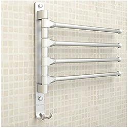 Tabaling Porte-serviettes Mural en Espace Aluminium avec 4 Barres 180°Rotatives Sèche-Serviettes pour salle de Bain Cuisine Lavabo 33 x 33 CM avec Crochet (4 coups)