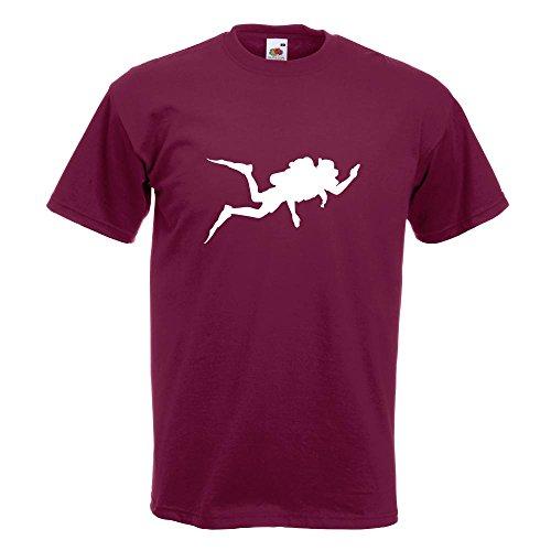 KIWISTAR - Taucher Silhouette T-Shirt in 15 verschiedenen Farben - Herren Funshirt bedruckt Design Sprüche Spruch Motive Oberteil Baumwolle Print Größe S M L XL XXL Burgund