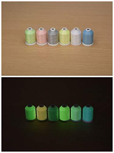 Simthread Nähgarn, 6 Farben, leuchtet im Dunkeln 1000Y